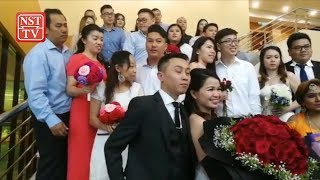 43 couples tie the knot on Valentine's Day
