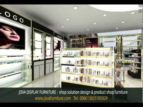 3D cosmetics showroom design, large skin care store display furniture