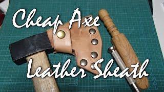 手斧のレザーシースを簡単に作る Making Leather Axe Sheath Cheap & Simple