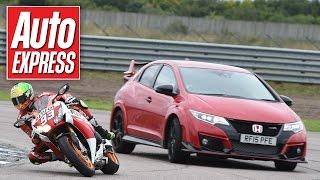 Honda Civic Type R vs CBR1000RR Fireblade SP - car vs bike track battle