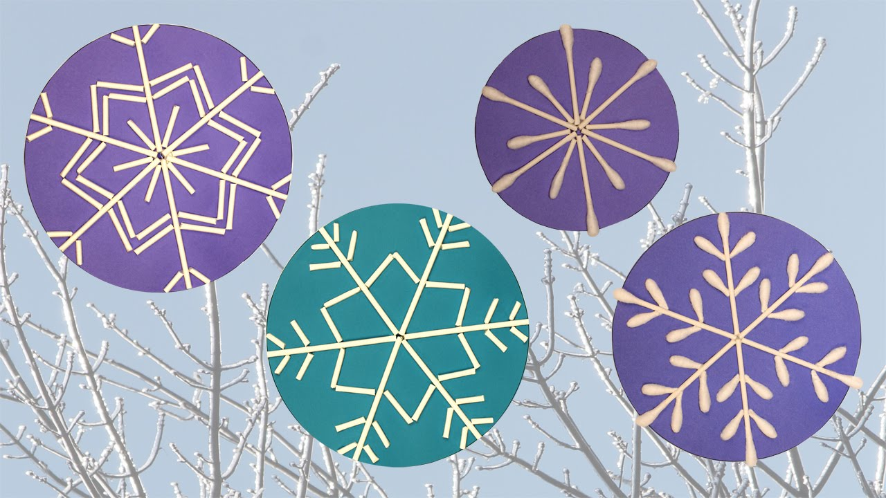 flocons de neige avec des coton tiges diy bricolage youtube. Black Bedroom Furniture Sets. Home Design Ideas