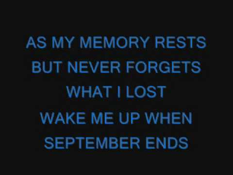 Green Day Wake Me Up When September Ends Lyrics Youtube
