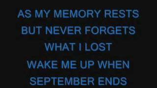Repeat youtube video Green Day-Wake Me Up When September Ends lyrics