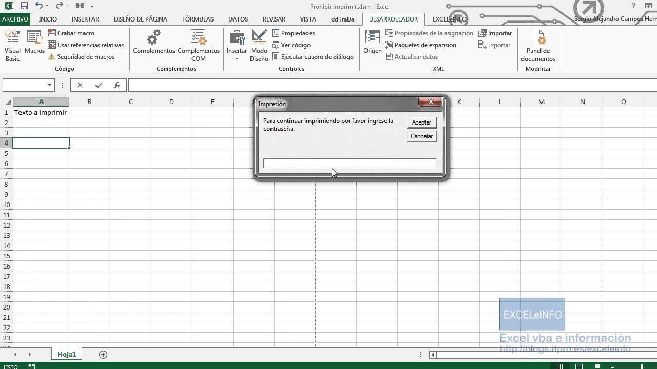 Macro y formulario para imprimir en Excel sólo con