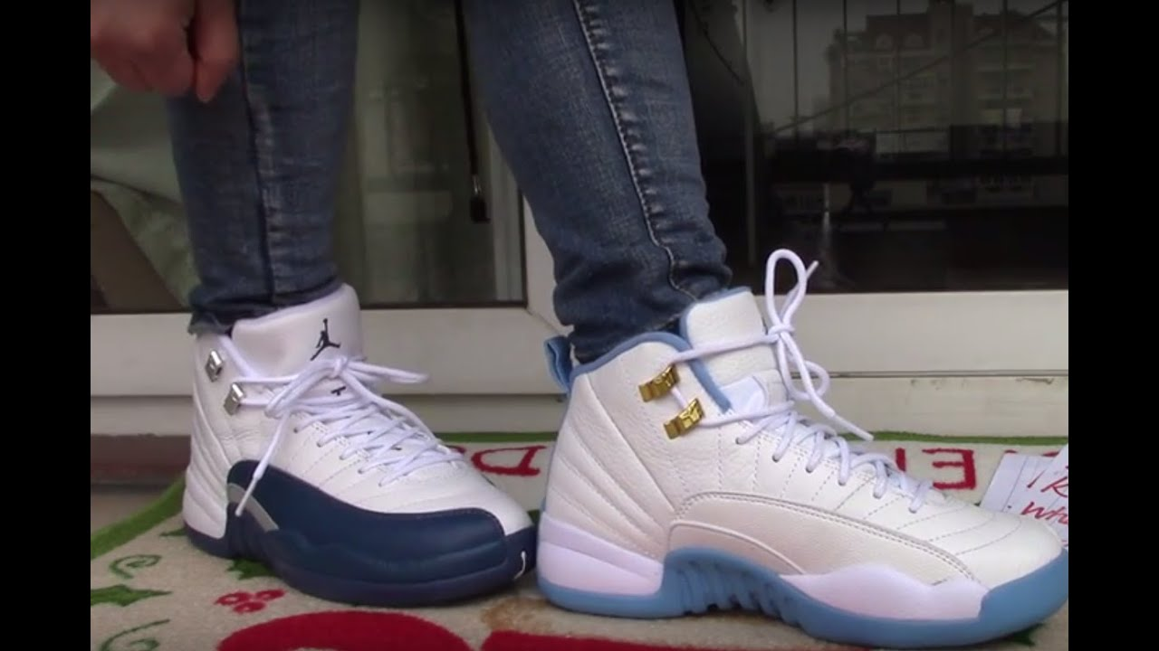 57b52b065a15a1 Jordan 12 GS University Blue vs French Blue on foot - YouTube