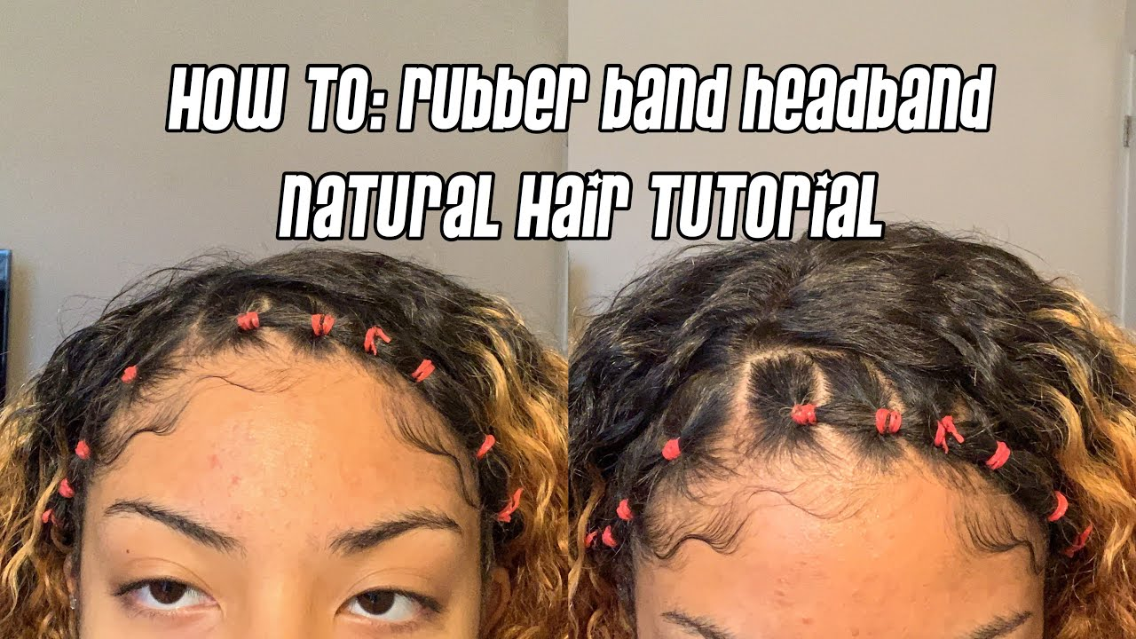 HOW TO: RUBBER BAND HEADBAND NATURAL HAIRSTYLE - YouTube
