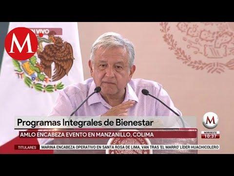 AMLO presenta 'Programas Integrales de Bienestar' en Manzanillo, Colima