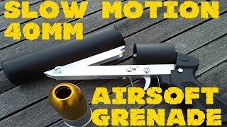 Airsoft 40mm grenade launcher in slow motion