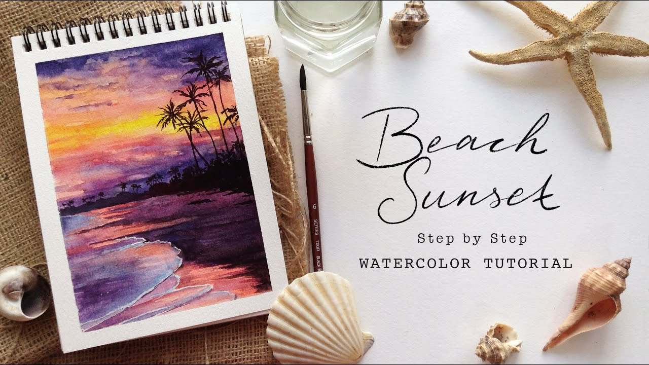 Sunset Beach: Step by Step Watercolor Tutorial