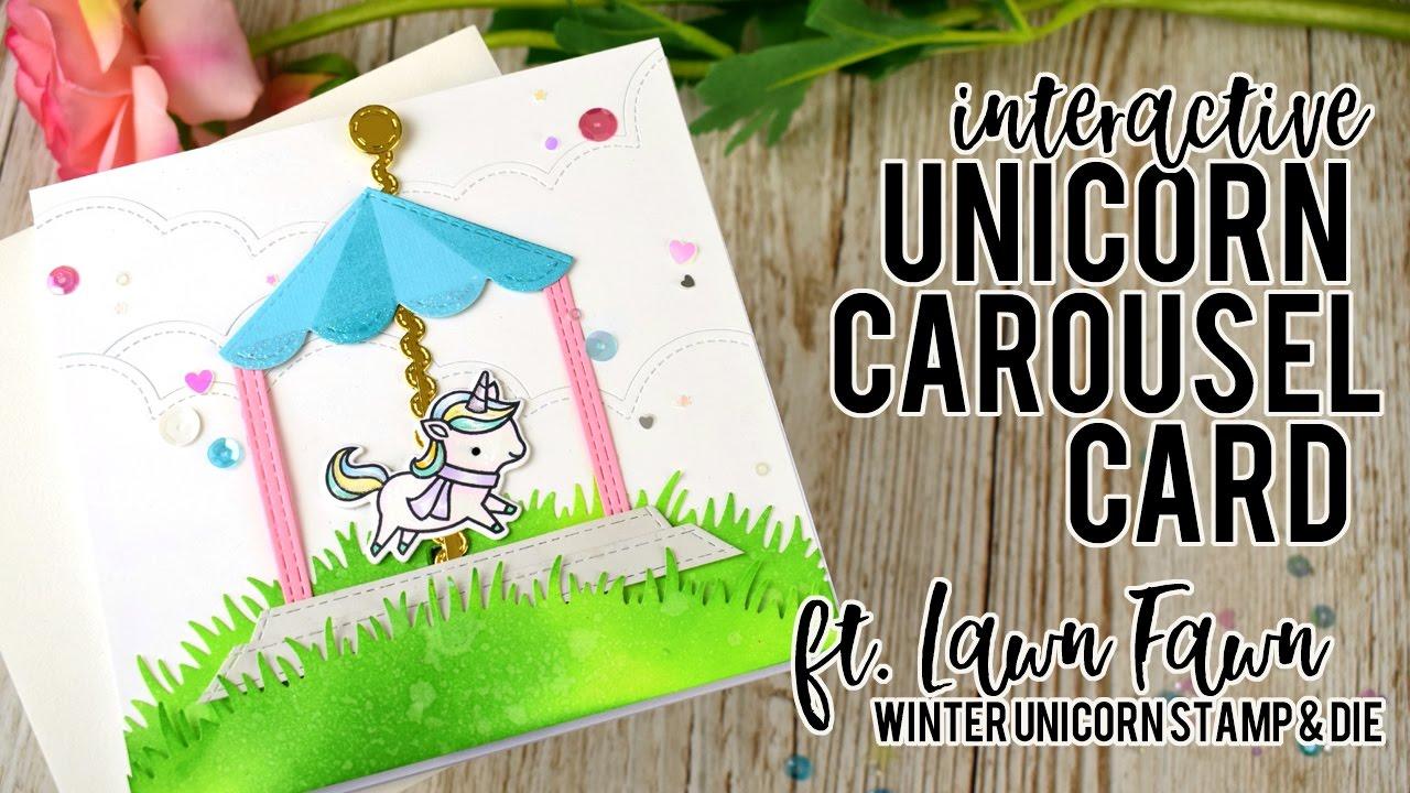 Interactive Unicorn Carousel Card Featuring Lawn Fawn Winter Unicorn