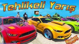 Ford Mustang ile Tehlikeli Yarış Steve ve Süper Kahramanlar ile Araba Yarışı