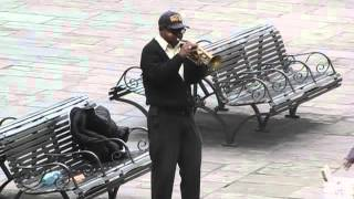 Buddy Ruff plays the Marine Hymn on Jackson Square
