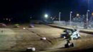 Lawton Speedway Sprint car A-Main flip 4-19-08
