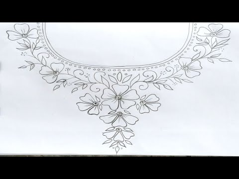 5 Neck Hand Embroidery designs for Dress and blouse, Embroidery Pattern Drawing step by step,অংকন