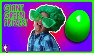 GIANT GREEN Surprises! Toy Hunt Adventure and Play w/Pool Toys and Chalk by HobbyKidsTV