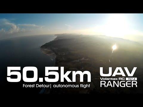 50.5km Forest Detour - UAV Volantex RANGER 757-4 using Li-On (LG MJ1 18650)