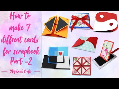 How to make 7 different cards for scrapbook| 7 different cards ideas |Scrapbook tutorial par-2