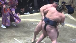20150113 大相撲初場所3日目 照ノ富士vs稀勢の里 キセノン 頑張れ.