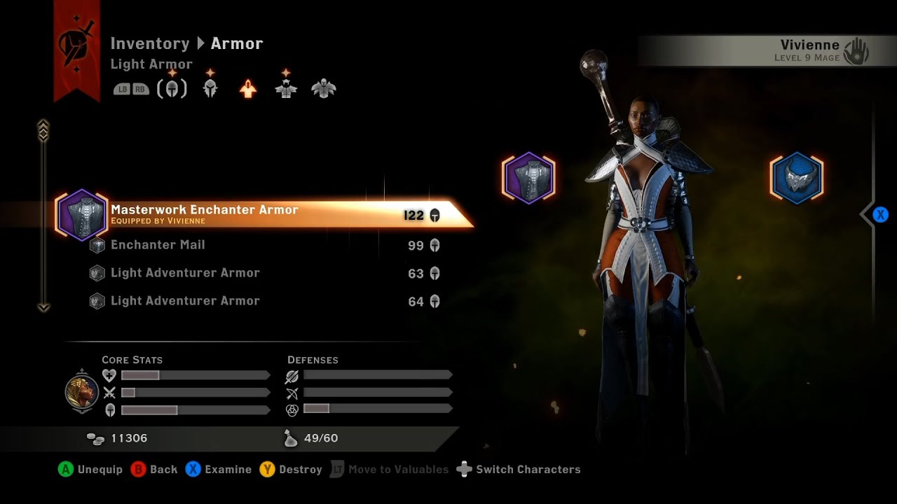 Dragon Age Inquisition Unique Light Armor 122 Armor Rating Mage Only Therinfal Redoubt Youtube