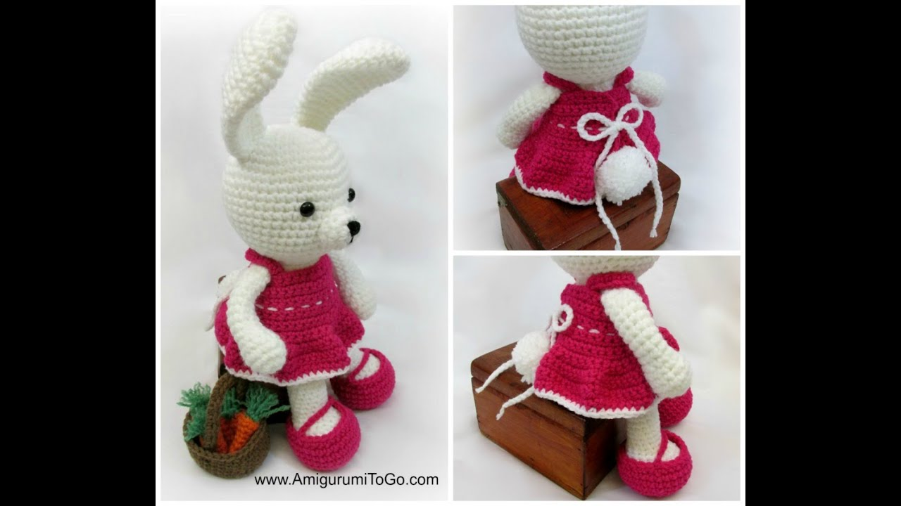 Spring bunny in dress amigurumi pattern | Amiguroom Toys | 720x1280