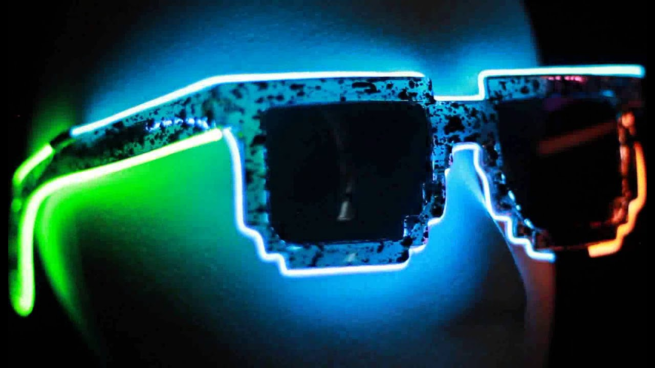 8 Bit Multi Colour EL Wire Glasses - GlowCulture.com - YouTube