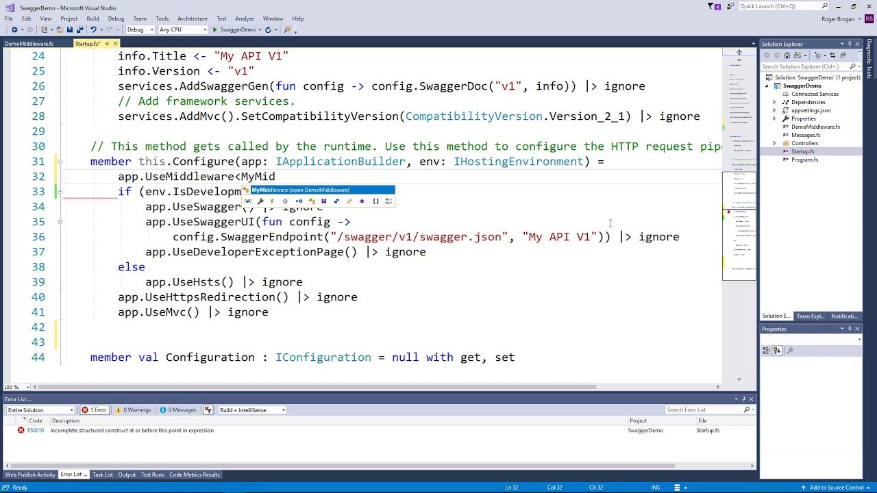 How to Add Middleware to ASP NET Core 2 1 with F#   Cloud