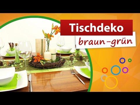 Tischdeko Braun Grun Tischdekoration Trendmarkt24