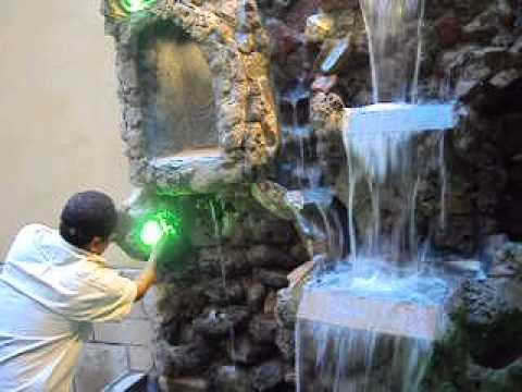 Cascada hecha de piedra picapedreros arte en piedra youtube for Cascada artificial en pared