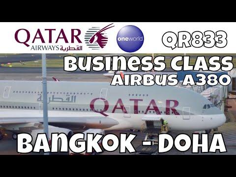 Qatar Airways Business Class Airbus A380 Bangkok Doha QR833 | Flight Report