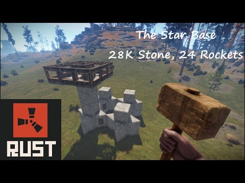 The Star Base (Hard to Raid, Rust Solo Base Design, 28K stone, 16 C4 or 24 Rockets)