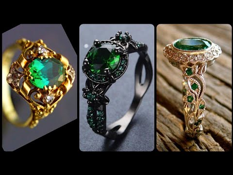 Stunning And Beautiful Scalloped Double Diamond Emerald Rings With Black Gold For Engagement