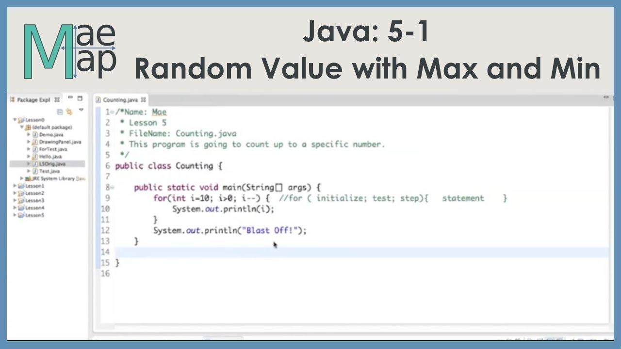 Java: 5-1 Random Value with Maximum and Minimum