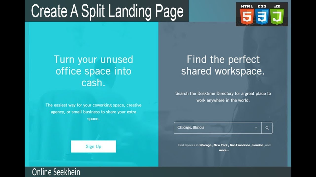 how to create a split landing page with html, css youtubehow to create a split landing page with html, css