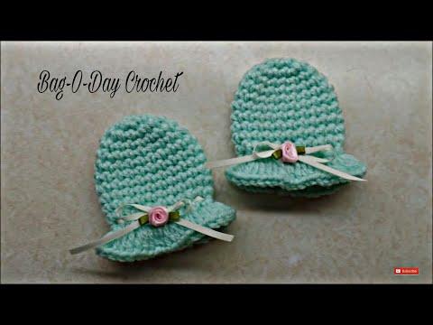 CROCHET How To #Crochet Easy Newborn Scratch Mittens #TUTORIAL #297 LEARN CROCHET