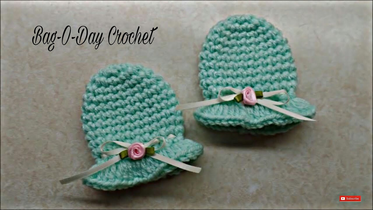 Free Crochet Pattern For Baby Scratch Mittens : CROCHET How To #Crochet Easy Newborn Scratch Mittens # ...