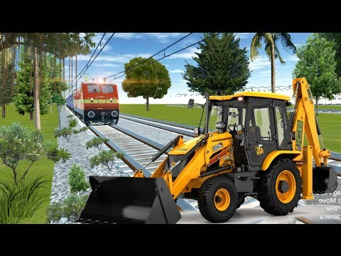 Crazy JCB Stops the train at unmanned level crossing in TrainZimulator | indian railways - JCB video