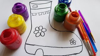 baby rhymes song/drawing & painting shoe for kids/learn colors from paints