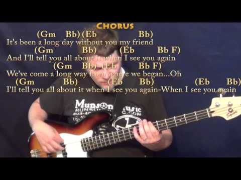 See You Again (Wiz Khalifa) Bass Guitar Cover Lesson in Gm with ...