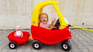 Elis Little Girl Ride On Cozy Coupe with Baby Doll / Thomas Power Wheel Maserati 12V