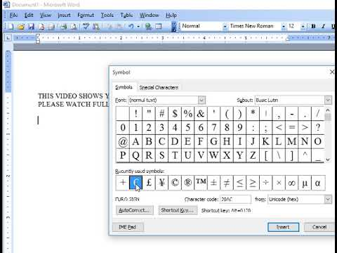 How To Insert Euro Sign In Ms Word Youtube