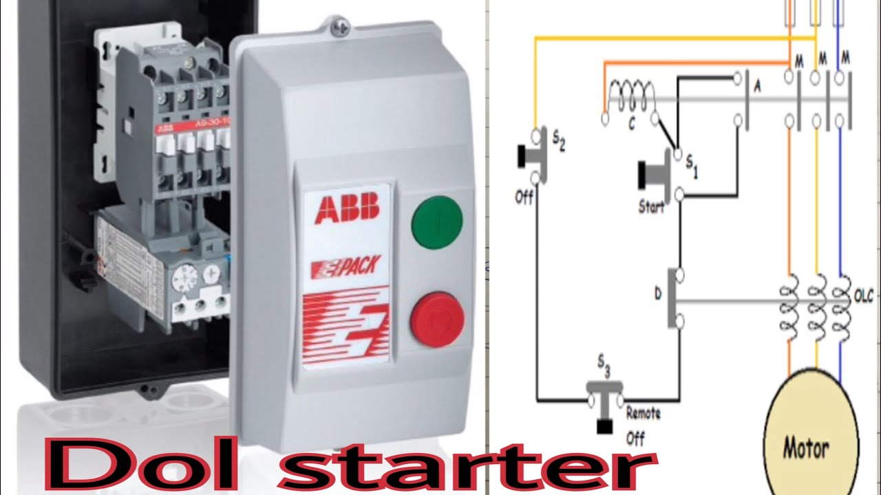 Dol starter and How to wiring Dol Starter connection - YouTube