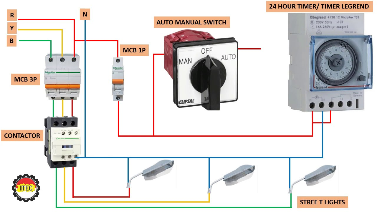 Automatic manual Street Light Connection Installation using contactors and  timers
