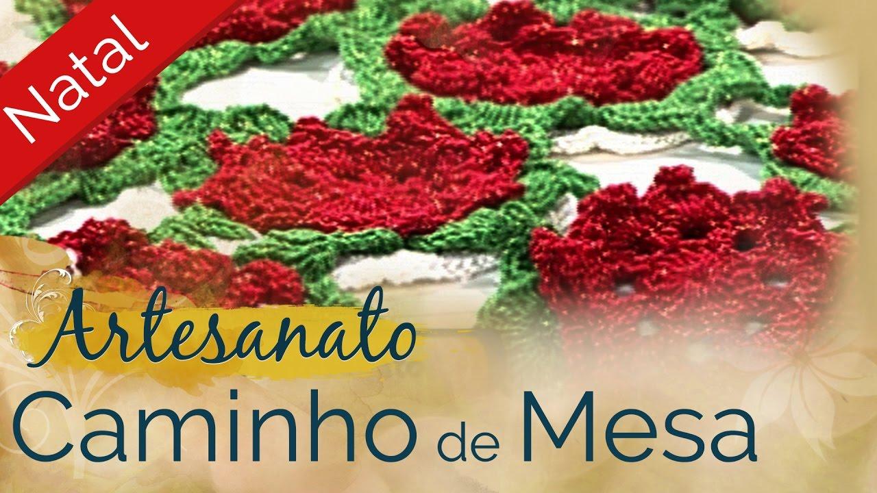 Artesanato #Natal | Caminho de mesa de crochê | Decoração ...