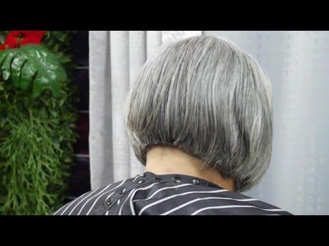 Bob short Hair cut for grandma ตัดผมบ๊อบ ผู้ใหญ่ แบบอาม่า