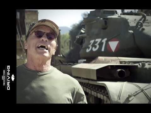 Arnold Schwarzenegger likes to crush things with his tank