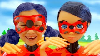 Kids Miraculous Ladybug Cosplay // Alice Pretend Play with Doll Head MakeUp and Magic Transformation