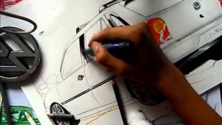 DRAWING CAR |Desenhando Carro Volkswagen Gol G4    - L.A Design Crew
