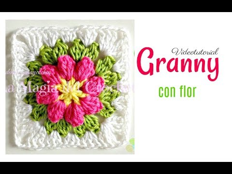 Granny square flor a crochet - YouTube