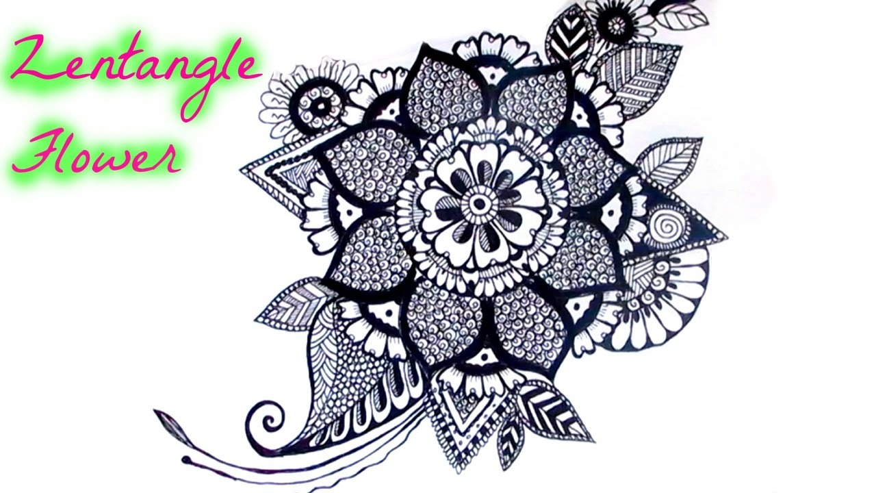Draw A Zentangle Flower YouTube
