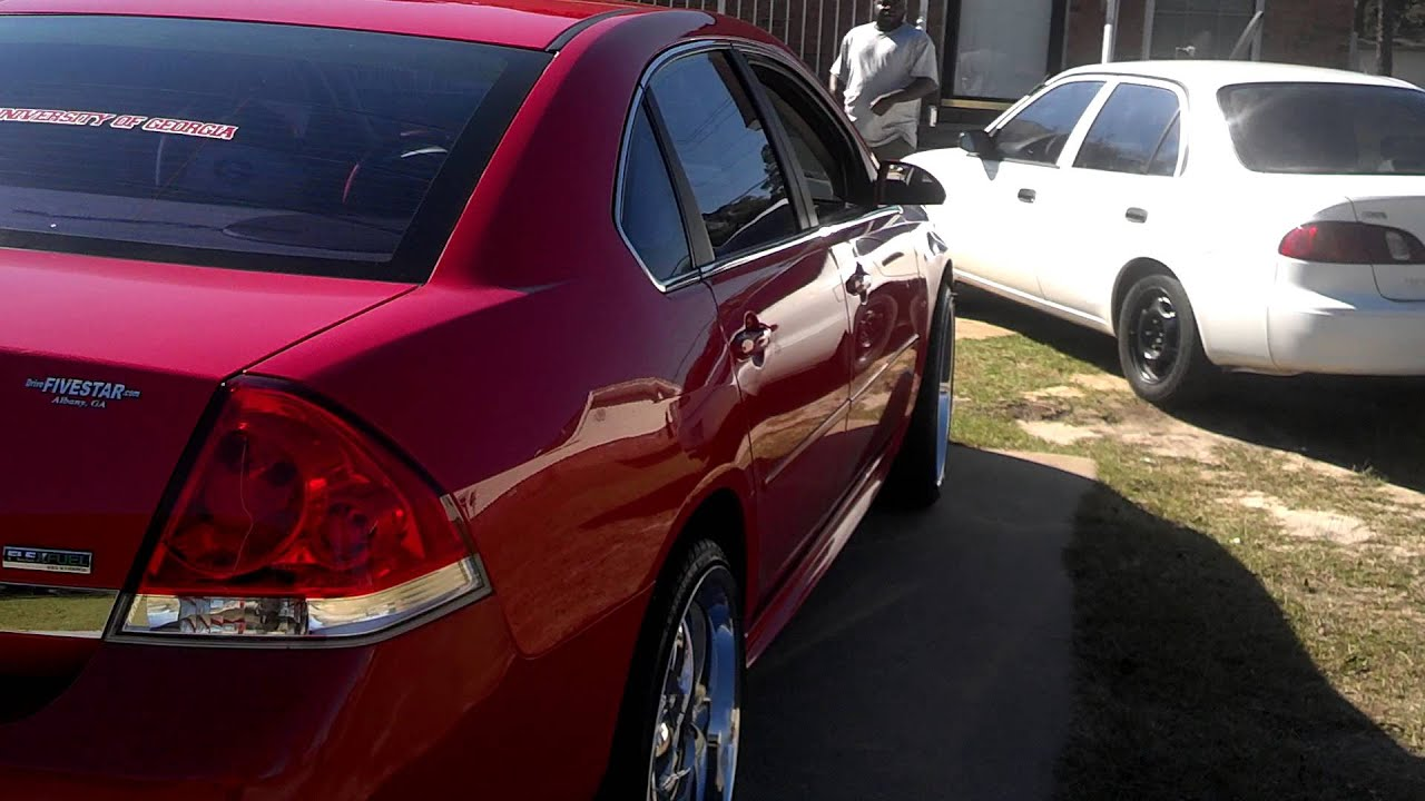 2010 Chevy Impala Lt Wet Bright Red On 22 Rims Youtube
